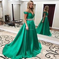 Elegant Satin A Line Sweetheart Neck Beading Long Prom Dresses 2017 Green Off The Shoulder Floor Lenghth Prom Gowns SML22703