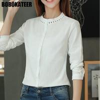 BOBOKATEER White Office Blouse Top Women Blouses Long Sleeve Shirt Women Tops Camisas Femininas Manga Longa