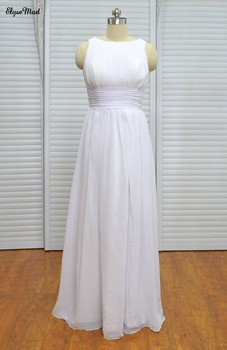 Modest A-Line Scoop Neck Chiffon Long Pleated Bridesmaid Dresses Cheap Wedding Party Gowns