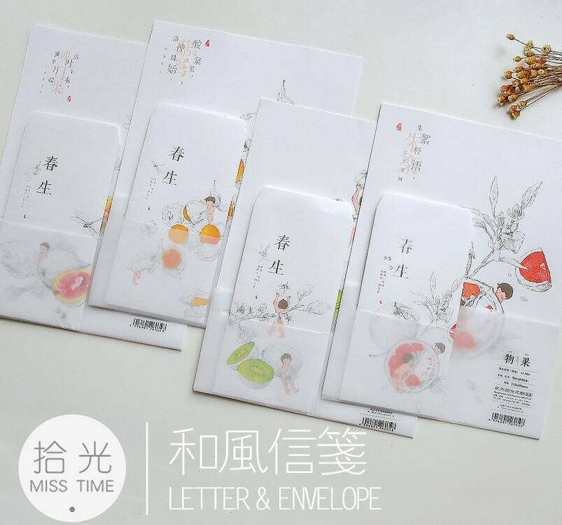 9Pcs/Set 6 sheet letter paper+3 pcs envelopes Spring Fruit Biological Letter pad Set /set writing paper Office School Supplies