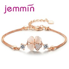 Jemmin Trendy Beautiful Rose Gold Double Box Chain Bracelet With Flower Charm Pendant For Women Lady Party Fine Jewelry(China)