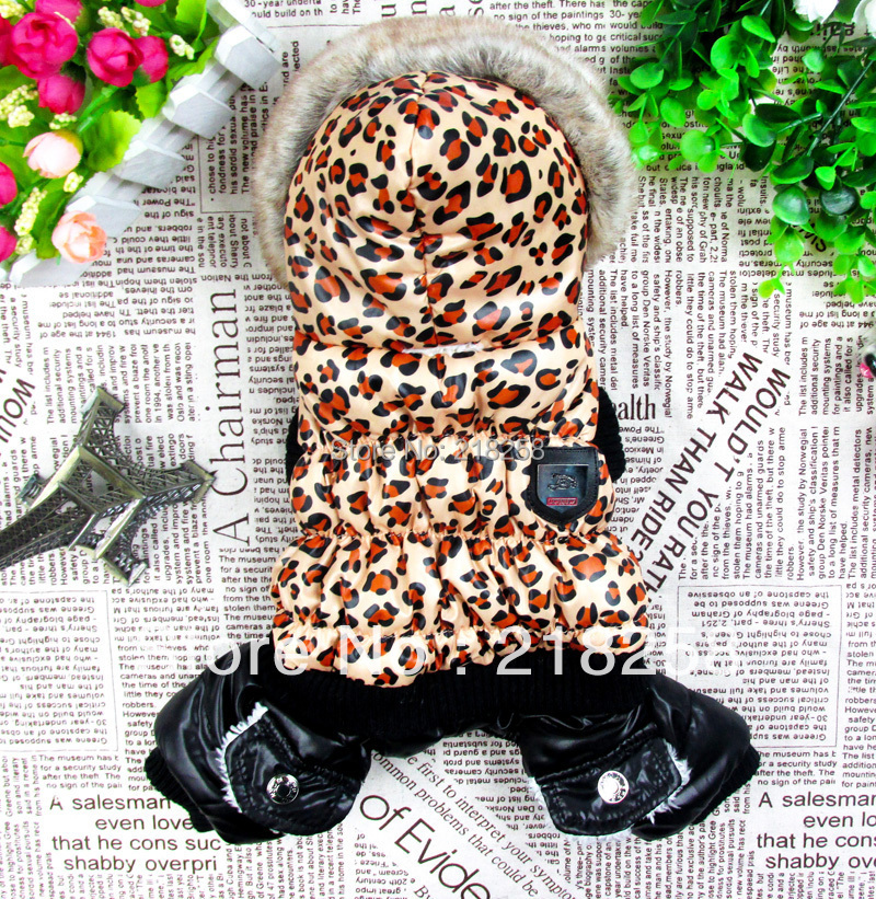 Retail Leopard Design Pet Dogs Winter Coat With Hood Gratis frakt nya kläder till hund