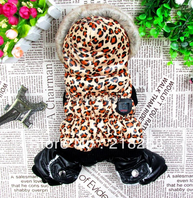 Mažmeninė leopardo dizainas naminių šunų žiemos kailis su gaubtu Nemokamas pristatymas naujam šunų drabužiui