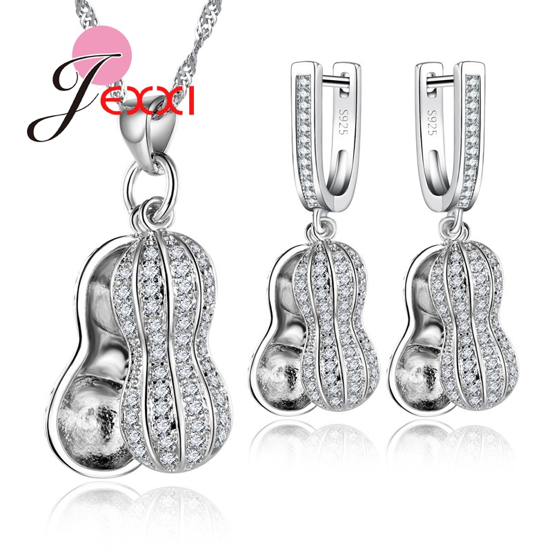 Jemmin Jewelry Set Peanut Shaped Necklace Pendant Earrings for Women Silver Crystal Bridal Accessories Wedding Jewelry Set