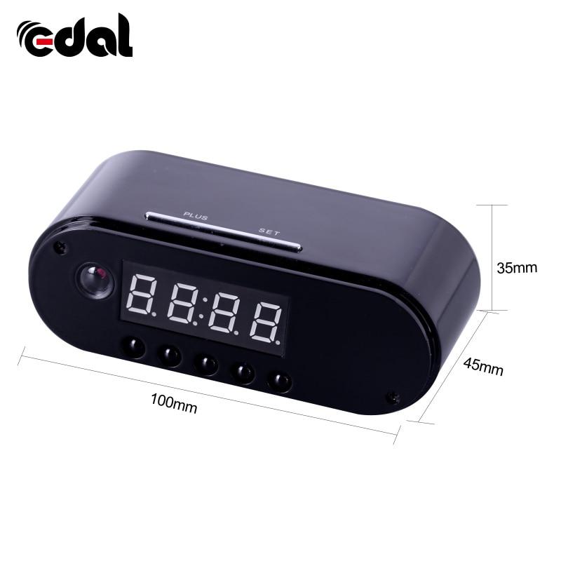 EDAL 1080 p H.264 Cámara del reloj de mesa de alarma Mini cámara de visión nocturna IR cámara IP Wifi reloj de la cámara Mini DV DVR videocámara Wifi Webcam
