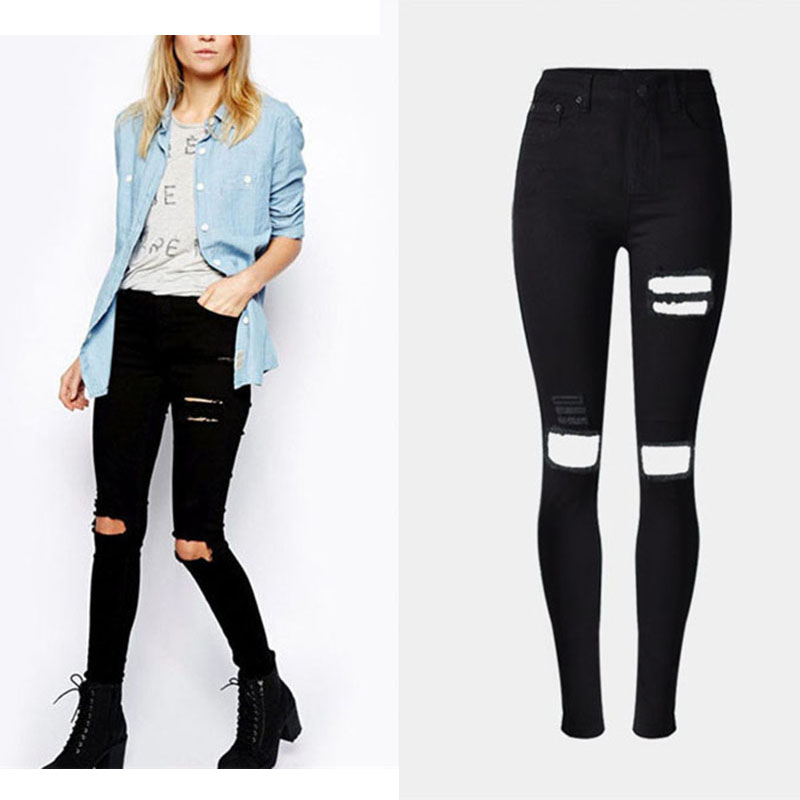 Fashion Women Black Denim Pants High Waist Full Length Jeans Hole Ripped Slim Washed Denim Jeans Ladies Denim Trousers Leggings 2016 new fashion high waist big hole ripped jeans for women slim pencil pants full length black clp052
