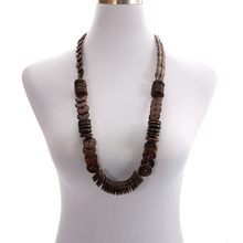 Ethnic Wholesale Brown Nature Coconut Shell Long Beaded Handmade Necklace Wooden Round Strand Knitted Bohemian Jewelry for Women цены