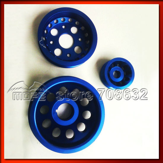 Underdrive Crank Pulley for Nissan Z33 350Z Engine Blue  free shipping light weight crank pulley new for nissan skyline gtr bnr32 rb26 dett rb20 rb25 underdrive crank pulley yc100829