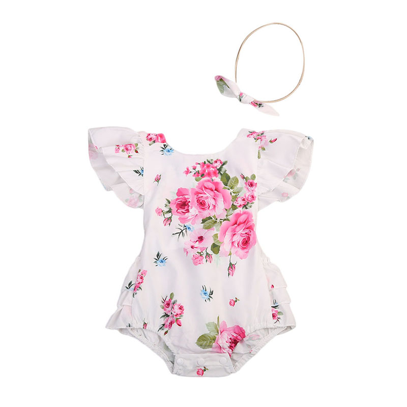 2017 Floral Newborn Infant Baby Clothes Ruffles Back Strap Tutu Skirted Romper Jumpsuit +Headband 2PCS Outfit Sunsuit Clothing newborn infant baby clothes girl lace strap floral romper jumpsuit headband 2pcs summer baby girl romper clothes baby onesie