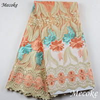 New Designs Swiss France Lace Fabric Fashion Gold Embroidered Mesh Lace Cotton High Quality African Lace