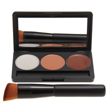 3 Colors Makeup Face Cream Contour Concealer Palette + Wooden Oblique Head Powder Brush Base Contouring Make Up Cosmetics Kit