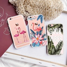 Pink Flamingos Printed TPU Cases For iPhone Xs Max Xr Xs X Flower Cactus Leaves Pineapple Pattern Silicone Cover For iPhone Xs(China)
