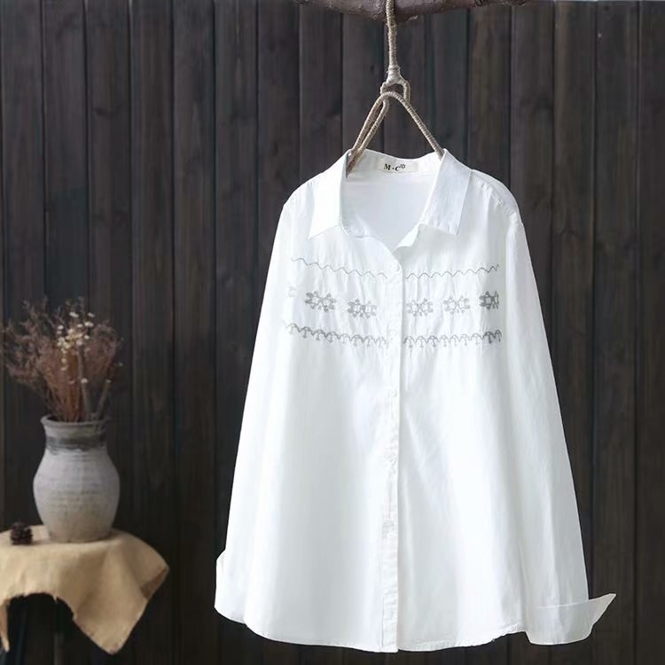 Kyqiao Women White Shirt Female Autumn Spring Japanese Style Brief Long Sleeve White Cross-stitch Blouse Blusas Mujer De Moda Moderate Price Women's Clothing