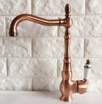 Antique Red Copper Brass Bathroom Kitchen Basin Sink Faucet Mixer Tap Swivel Spout Single Handle One Hole Deck Mounted mnf424 antique brass bathroom basin faucet waterfall spout vanity sink mixer tap single handle one hole deck mounted kd1270