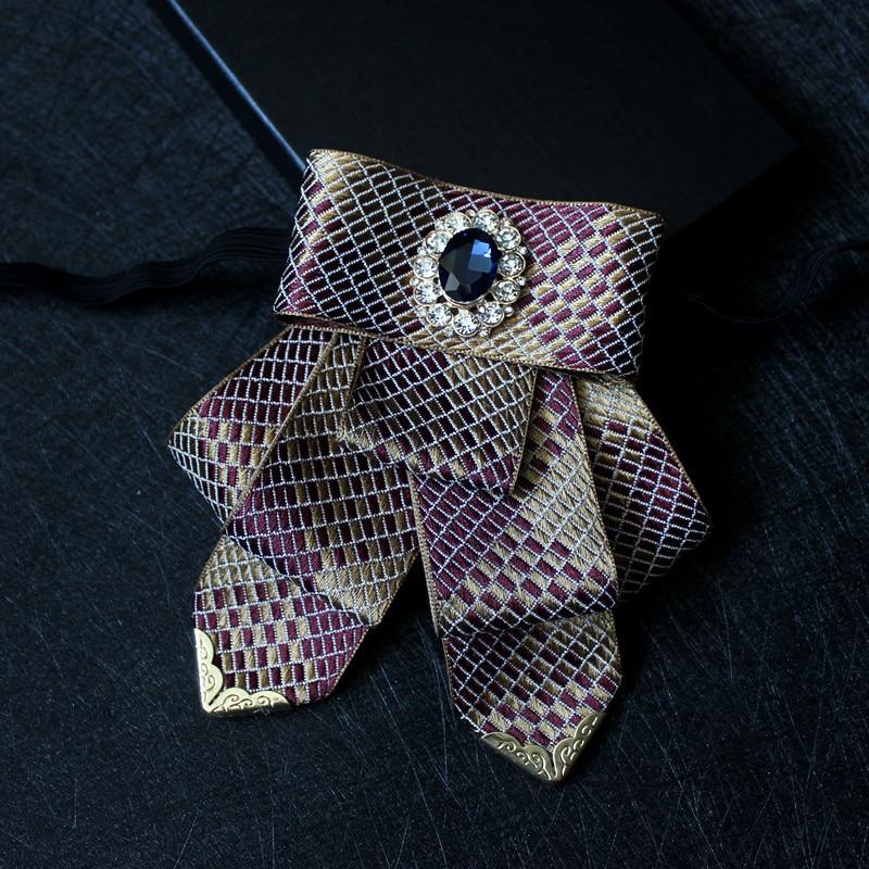 Boutique British Purple Gold Plaid Clothing Accessories Men's Bow Tie Gentleman Groom Men Hosted Banquet Wedding Collar Flower