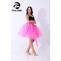 FOLOBE Hot Pink Handmade Midi Tulle Skirt American Apparel Tutu Skirts Women Ball Gown Party Petticoat