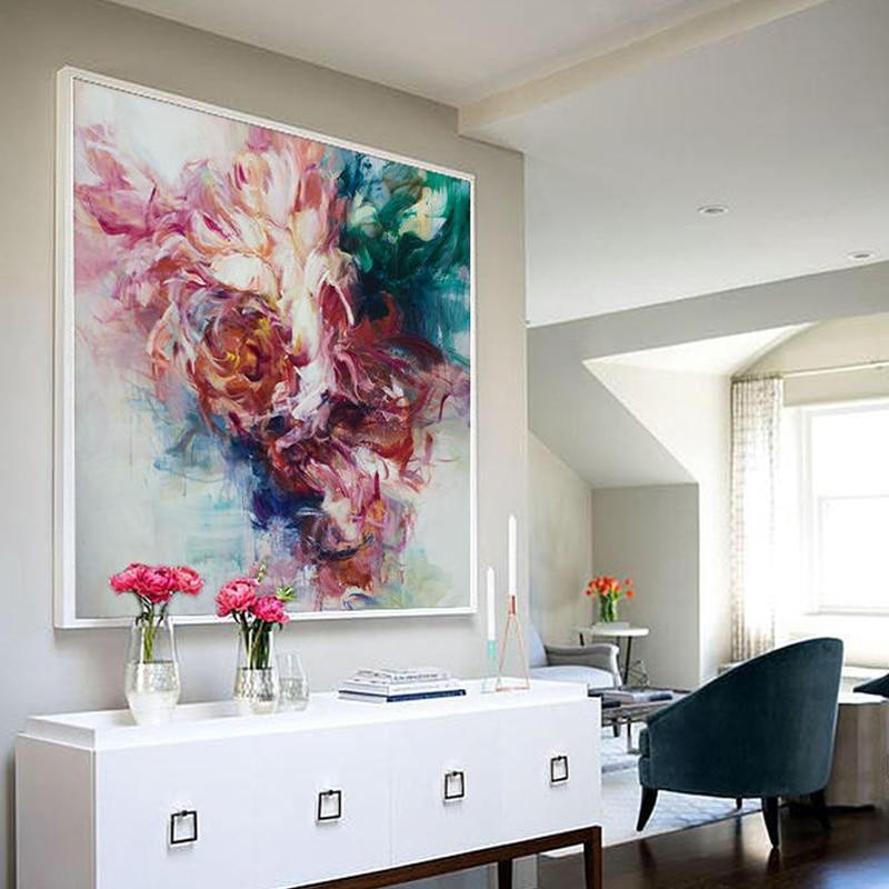 100% Hand Bemalt Abstrakten Große Blumen Ölgemälde Auf Leinwand Wand Kunst Wand Schmuck Bilder Malerei Für Live Room Home decor - 2