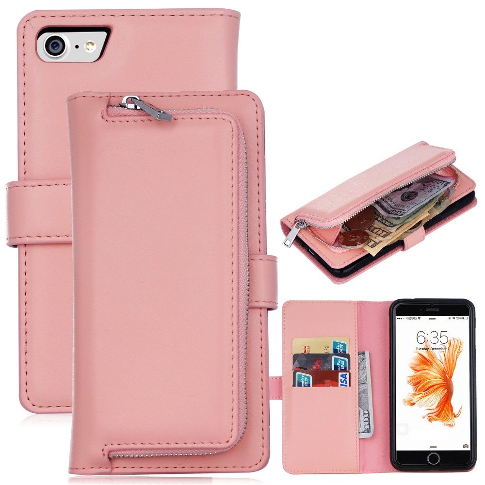 Luxury Zipper Leather Wallet Phone Case For Apple iPhone 6 6s 7 8 Plus Flip  Cover Purse Detachable Magnet Closure Money Handbag-in Wallet Cases from ... 79da9b0cdec9
