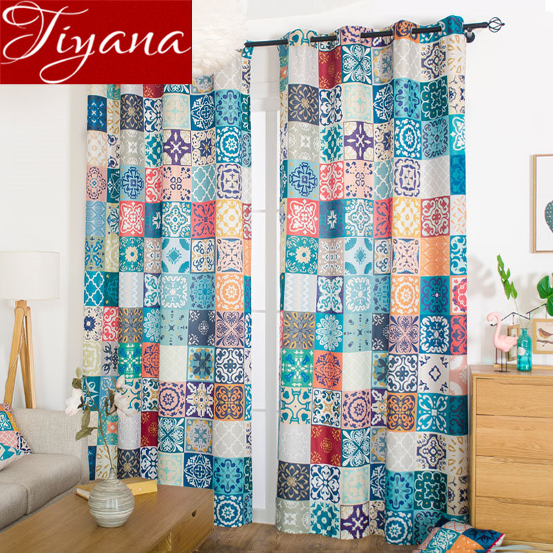 Nordic Style Colorful Curtain For Kids Room Morocco Design Curtain For Living Room Blackout Drapes Window Treatment X514#30