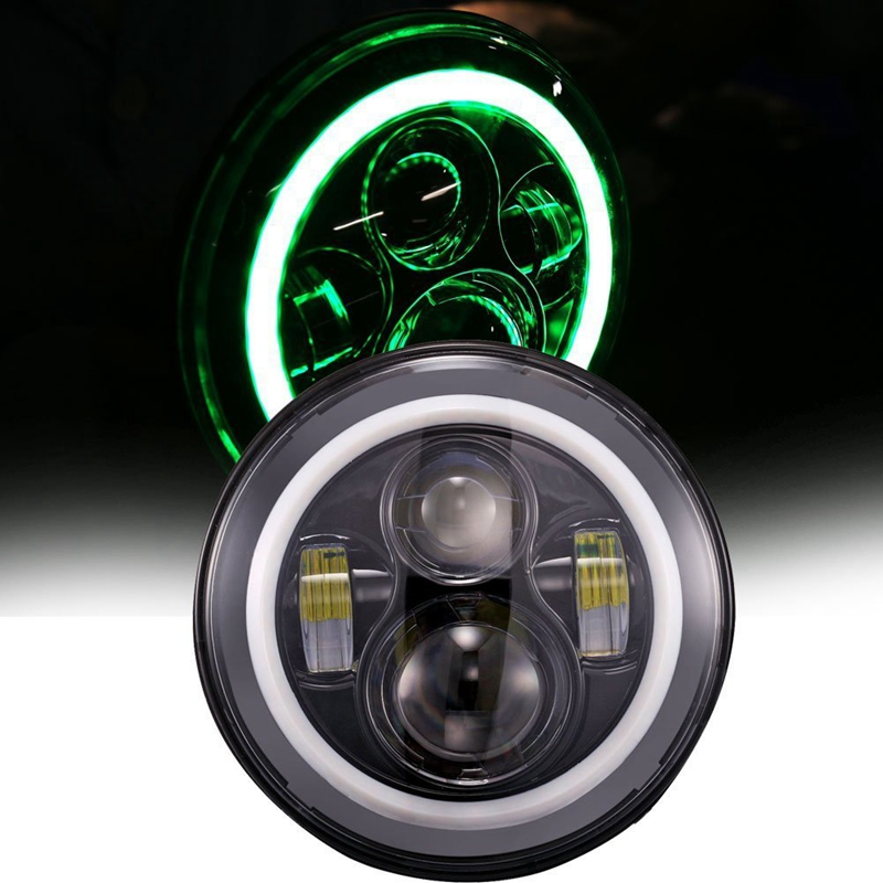 45W 7 inch Round Auto canbus LED Headlight 4800LM With High low beam angle eye LED