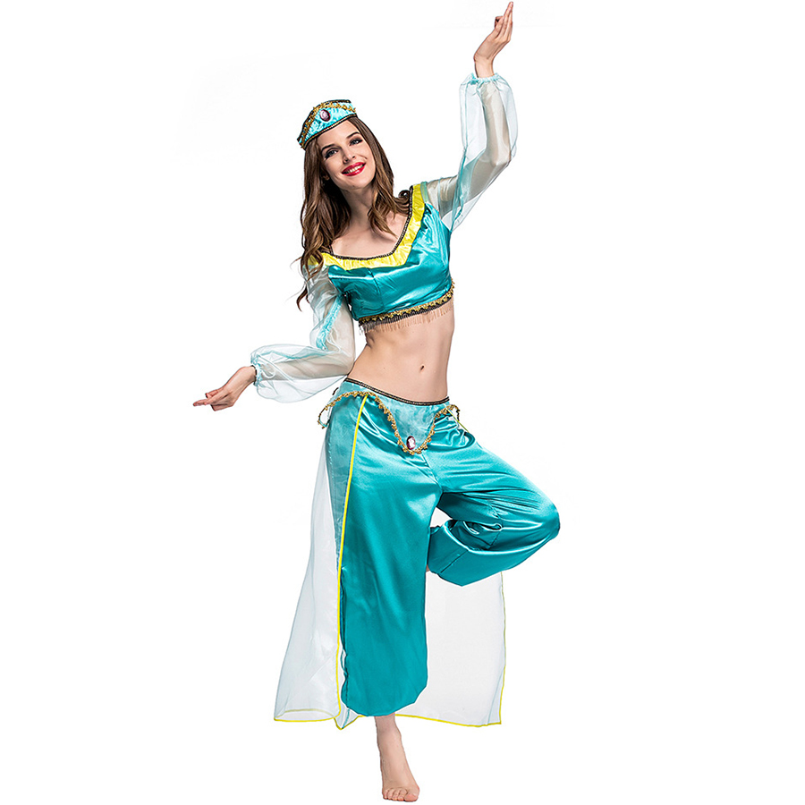 Fairy Tale Aladdin Princess Jasmine Costume Adult Women Halloween Party Cosplay Costume Fancy Dress Party Clothing Stage Show  Принцесса Жасмин