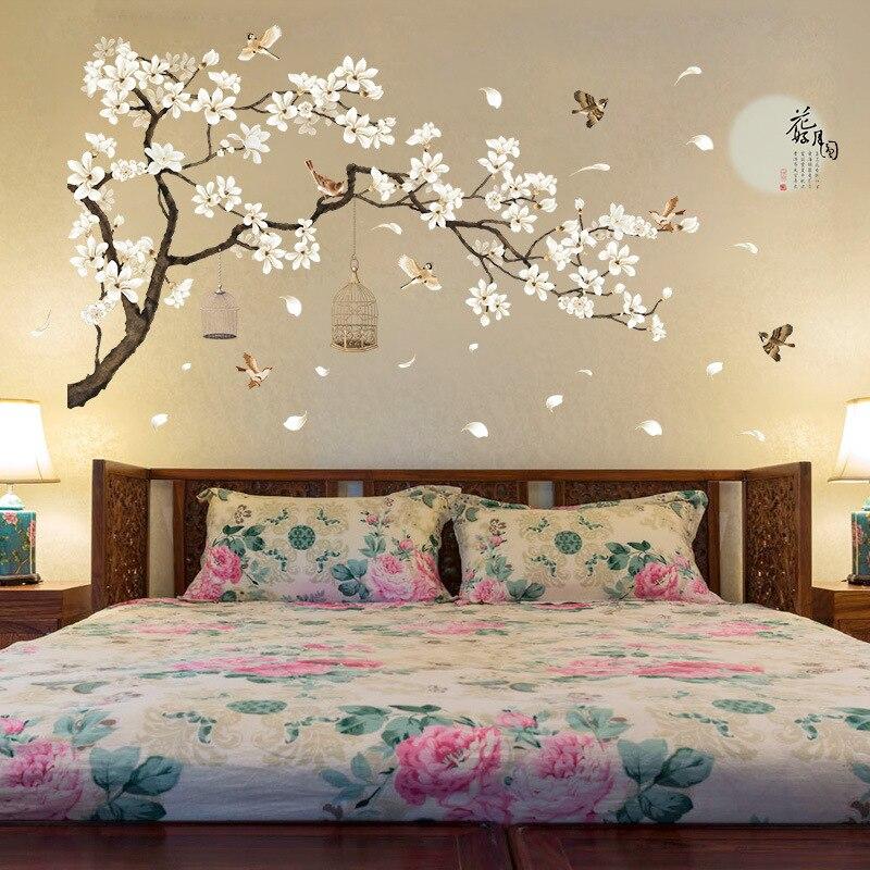 >60*90cm Double Big Size Tree Wall Stickers Birds Flower <font><b>Home</b></font> Decor Wallpapers for Living <font><b>Room</b></font> Bedroom DIY Vinyl <font><b>Rooms</b></font> <font><b>Decoration</b></font>