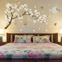 60*90cm Double Big Size Tree Wall Stickers Birds Flower Home Decor Wallpapers for Living Room Bedroom DIY Vinyl Rooms Decoration