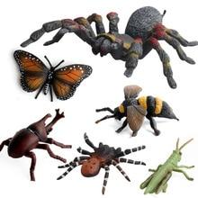Simulação de alta qualidade insetos modelo brinquedos mantis abelhas borboleta aranha animal modelo coleção brinquedos para crianças do miúdo presentes