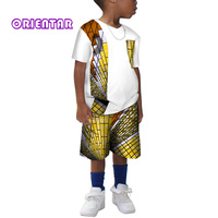 Kids African Clothes Cotton Short Sleeve T Shirt Tops and Pants Shorts for Boys African Wax Print Cloth Set Bazin Riche WYT214