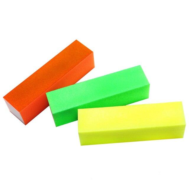 3 Pcs Nail Art Sand Buffer Block 4 Side Sponge Fluorescent Color ...