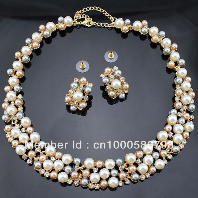 de9c0107a7 PN12365 Classic Imitation Pearl Jewelry Sets Clear Crystal High Quality 3  Color Pearls Party Gifts Free Shipping