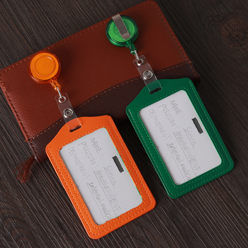1pc Portable No Zipper Cheap Safety Bank Credit Card Holders Bus ID Holders Identity Office Supplies Badge With Retractable Reel