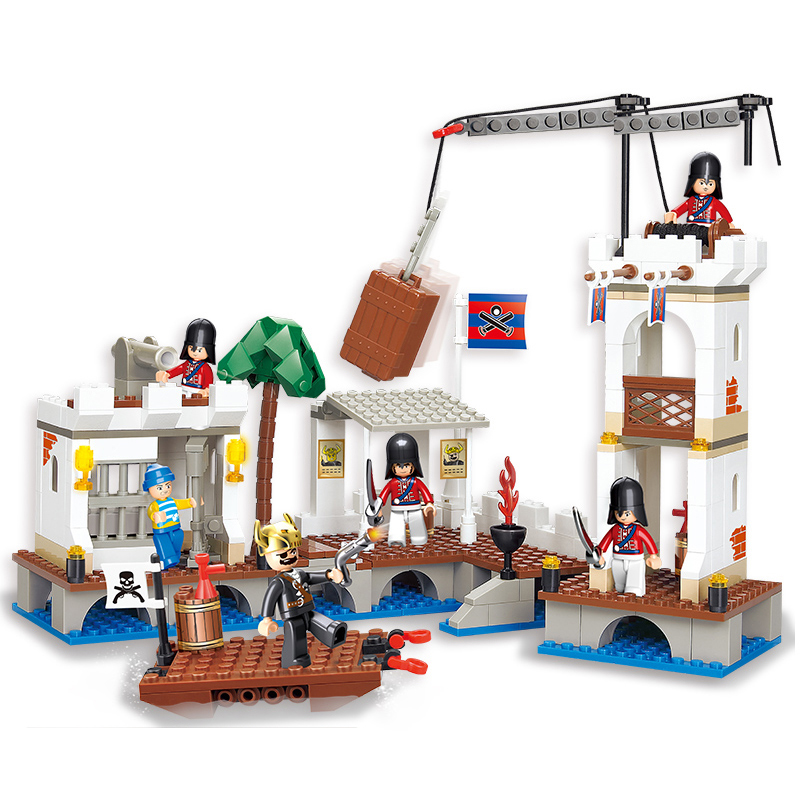 SLUBAN 0280 Pirates Caribbean Ship Attacked Royal Port Figure Blocks Educational Bricks Toys For Children Compatible Legoe new lepin 16009 1151pcs queen anne s revenge pirates of the caribbean building blocks set compatible legoed with 4195 children