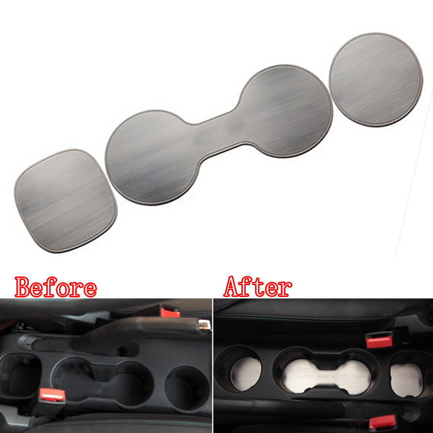 3Pcs Stainless Car Styling Inner Water Cup Holder Pad Cover Trim Sticker Matt Silver Fit For Chevrolet Trax 2014 Accessories