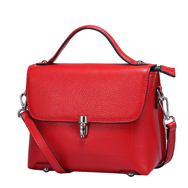 Women's new leather cross-section square cover bag Korean first-layer leather cross-shoulder shoulder bag square cross section of the new square leather small square bag double sided multi color leather messenger bag shoulder messenge