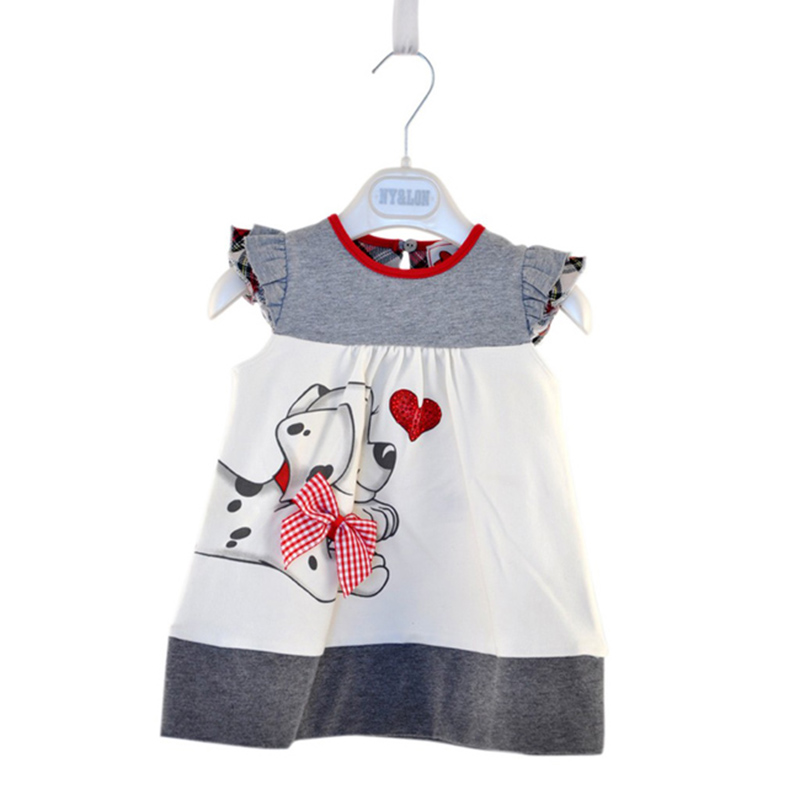 1-3Y summer Baby Girls Toddlers A-Line Dress Girls Kids One-pieces Dress Clothes infant dog print cute clothing for girls