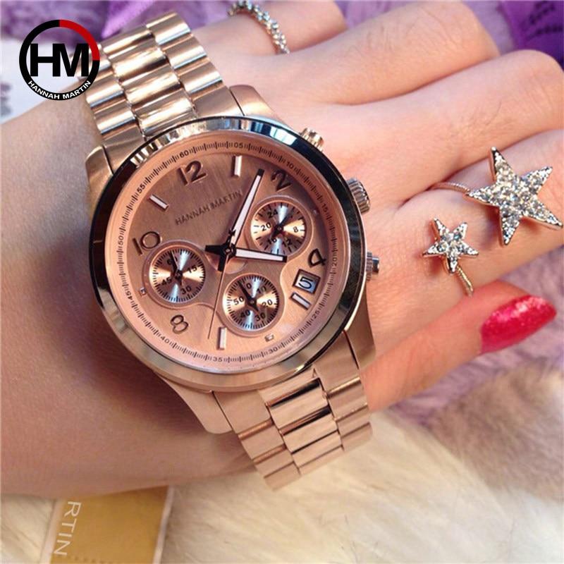 Sturdy Hannah Martin Brand Watch Luxury Women's Watch Auto Date Watch Women Wristwatches Full Steel Ladies Clock Mujer Relojes