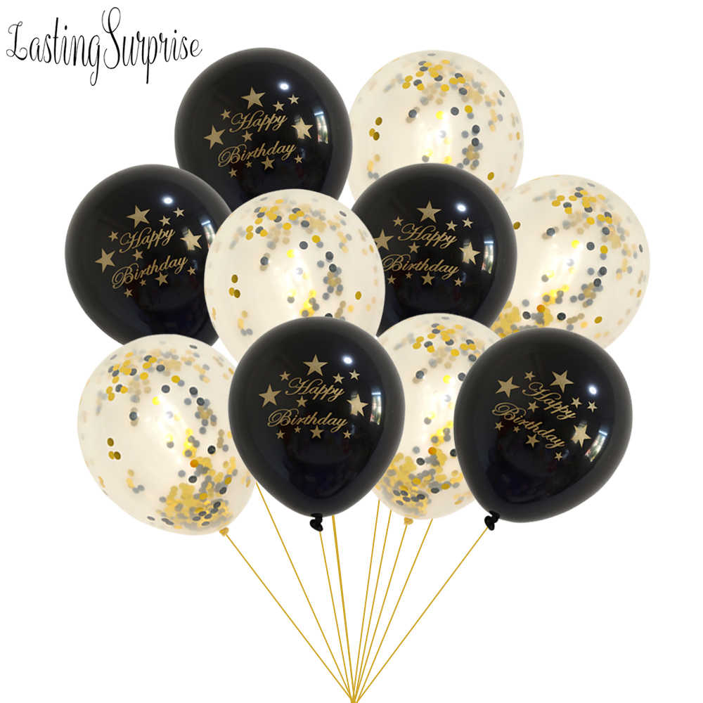 Schwarz Gold Ballon Kits Glücklich Geburtstag Ballon Buchstaben Ballon Konfetti Luftballons Party Dekorationen Kinder Ballon Geburtstag Ball Set