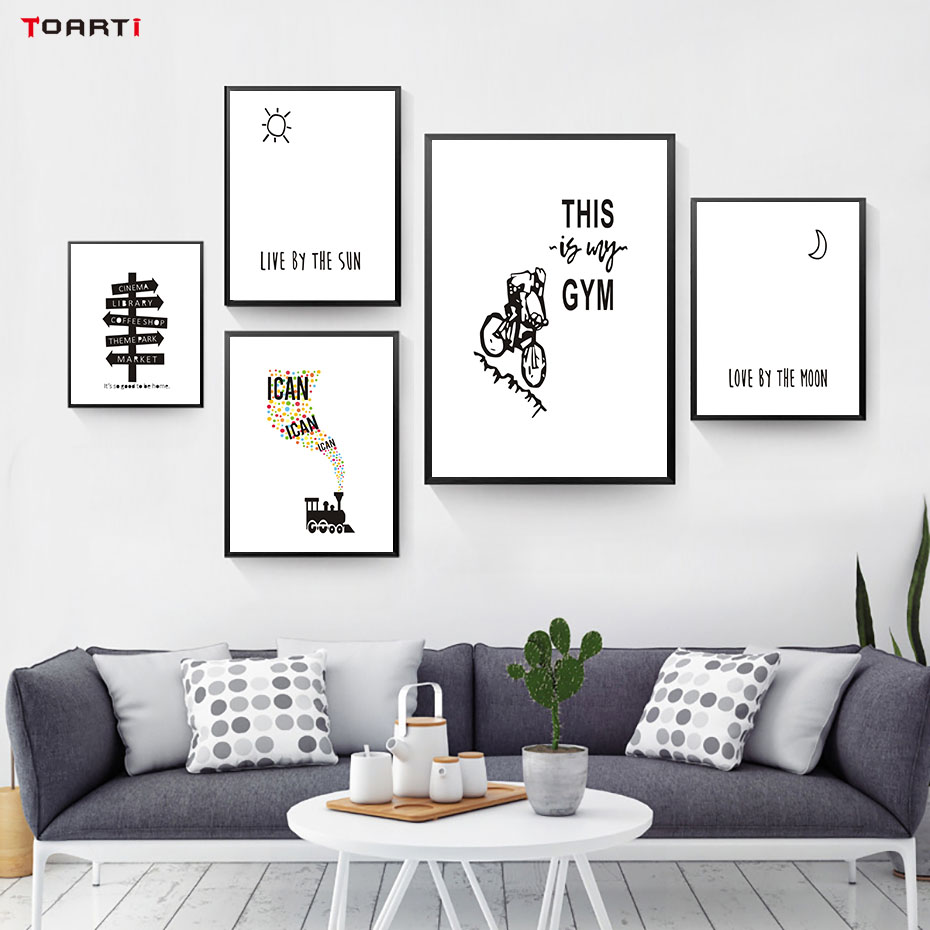 Life Sign Word Black White Art Canvas Painting Poster And Prints inspirational Quote Wall Pictures For Living Rooms Home Decor
