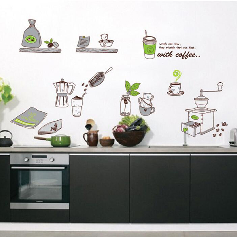 Us 5 93 Cute Kitchen Wall Stickers Home Decor Self Adhesive Living Room Wall Decals Removable Waterproof Kitchen Stikers In Wall Stickers From Home