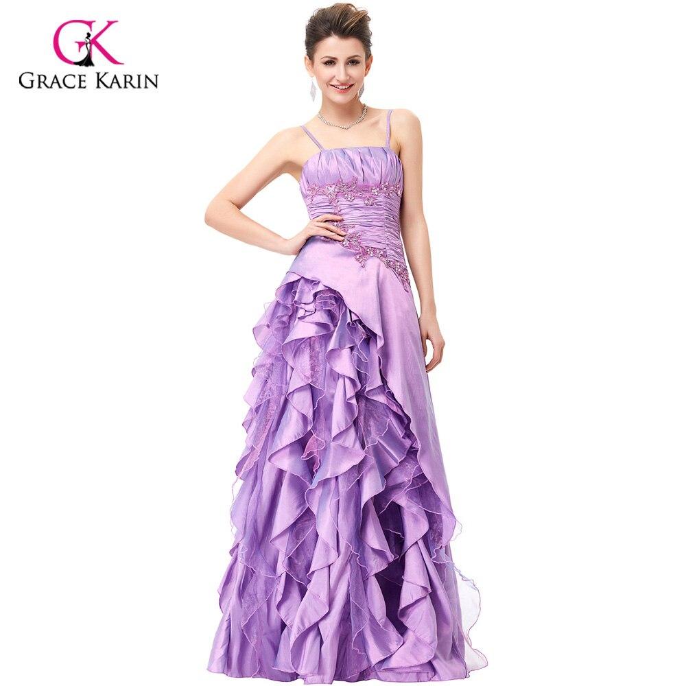 Grace Karin Purple Long Evening Dress Bride Banquet Prom Dresses