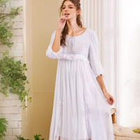Spring Autumn Long Sexy Sleeping White Pink Blue Lace Cotton Sleepwear Spaghetti Strap Night Gown Womens Lingerie Nightgown