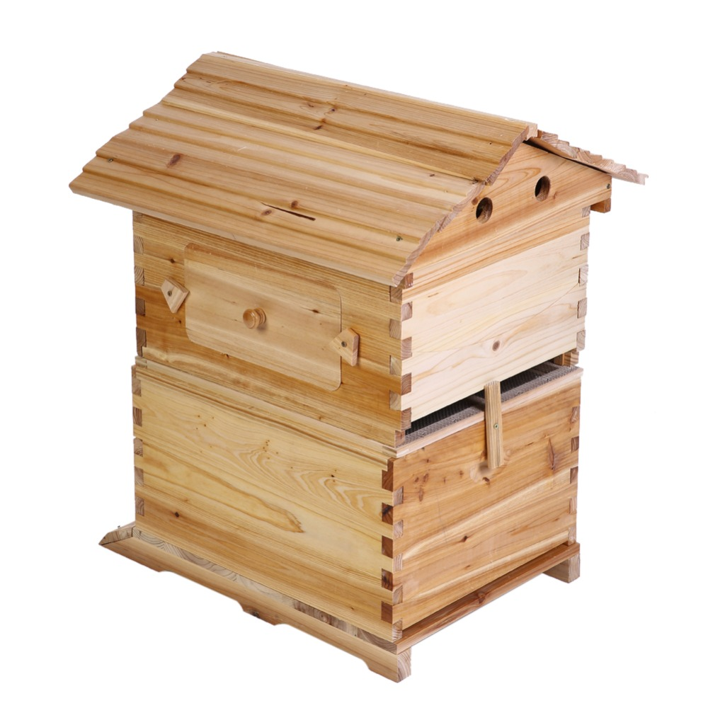 7Pcs Plastic Auto Flow Honey Beehive Hive Frames With Wooden Bee House Box Beehive Kit For Beekeeper Tools Beekeeping Equipment
