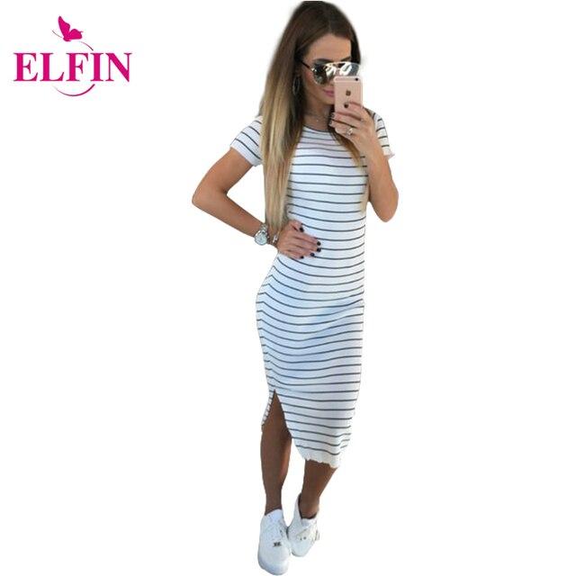 Повседневное летнее женское платье короткий рукав шею Slim Fit облегающее платье в полоску сбоку Разделение футболка женские платья LJ3904R