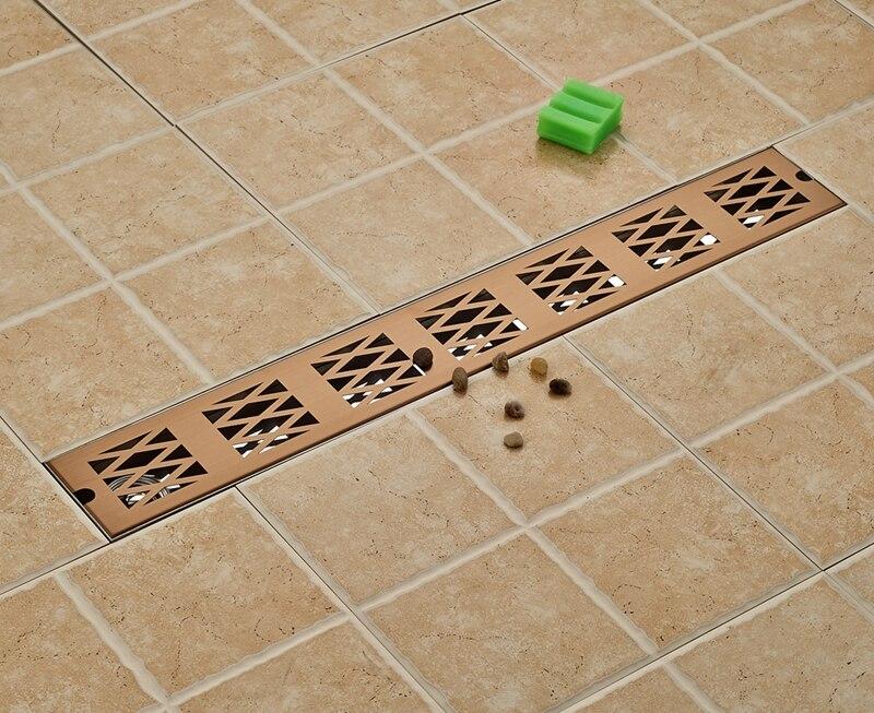 Rose Gold 70cm length Bathroom Floor Drain Rectangle Ground Leakage Floor Filler gold stainess steel 70cm bathroom shower floor drain floor mount ground leakage