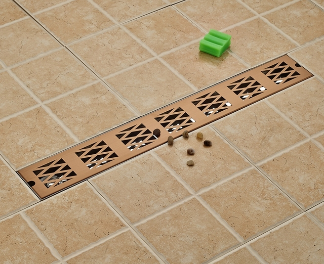 Rose goud cm lengte badkamer afvoerputje rechthoek ground