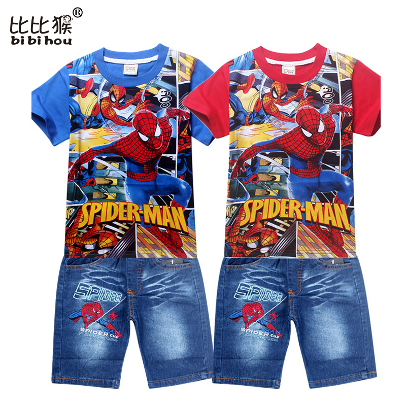 fashion 2017 spiderman children clothing set for kids cartoon baby jeans suit retail boys short sleeve t shirt pants boy clothes