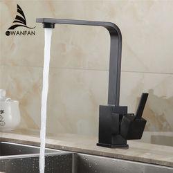 حنفيات مطبخ نحاسية لبالوعة المطبخ حنفية مياه تدور 360 خلاط حنفية ذات فتحة واحدة خلاط أسود 7115