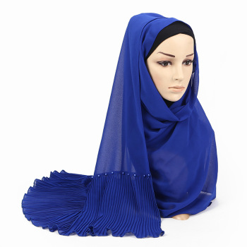 Women Wrinkle Bubble Chiffon Shawl Muslim Plain Hijabs Scarf/scarves Nail Pearl Plain Scarf Wrap Head Scarf 10pc Wholesale chic exuberant peonies and leaves pattern shawl wrap chiffon scarf for women