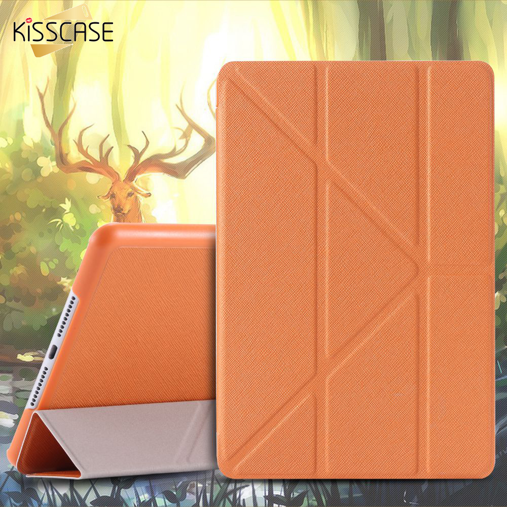 KISSCASE Triple Folder Stand PU Leather Case For iPad Mini 4 Flip Cross Pattern Smart Sleep Wake Cover for Apple ipad mini 4 sho me drl 6002